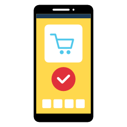 Mobile phone displaying online shopping