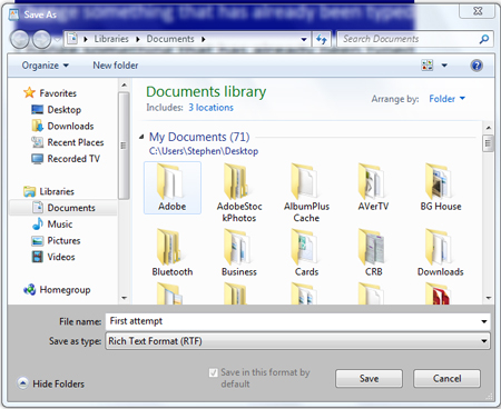 Wordpad documents library