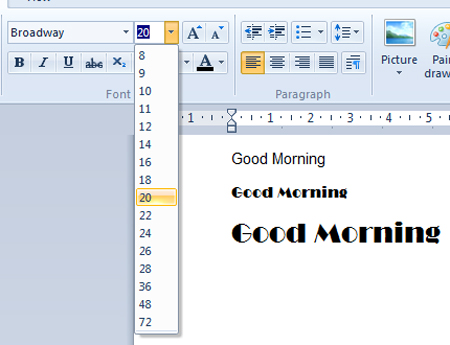 fonts for wordpad windows 7