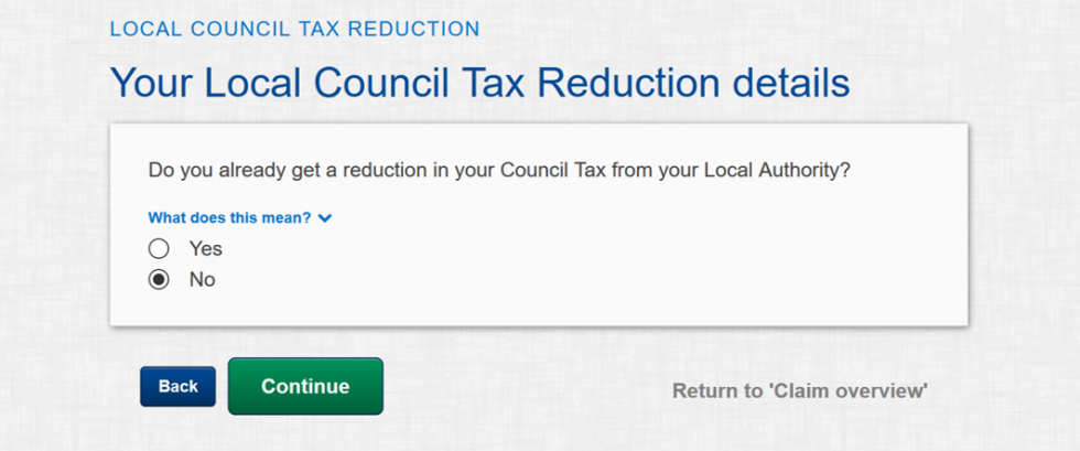 fill in your council tex details