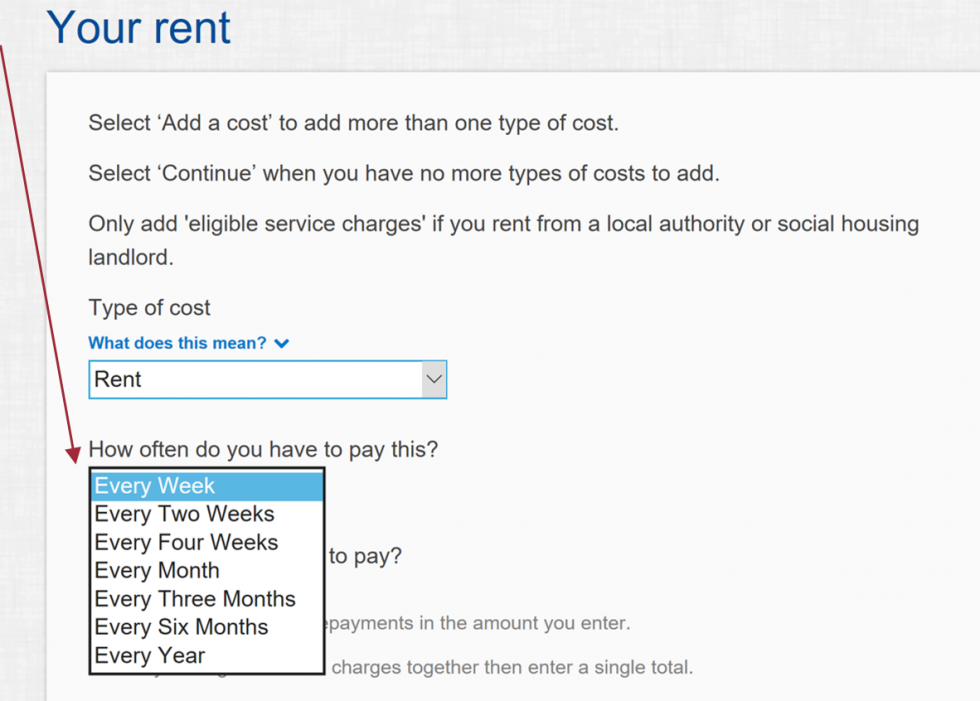 fill in your rent details