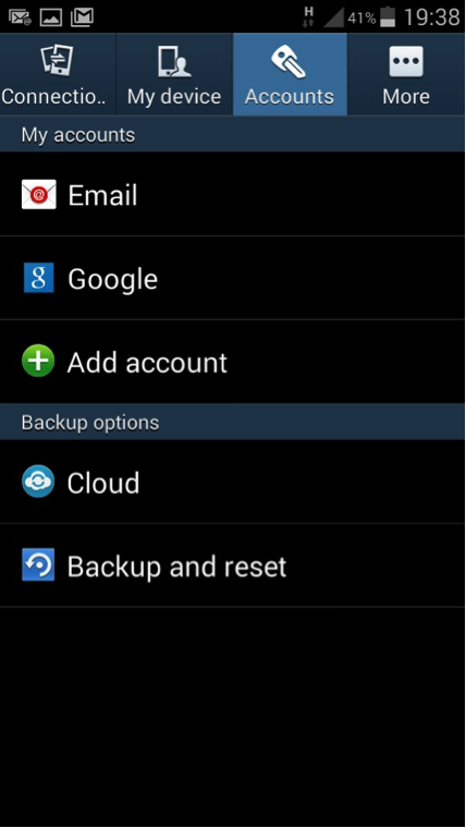 Android email settings