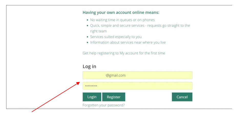 Log In using your email and password