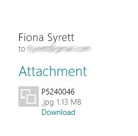 Windows 8 mail - receiving an attachment
