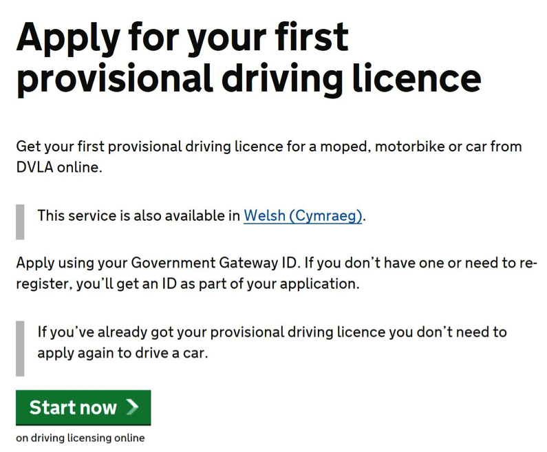 GOV.UK apply for first driving licence page