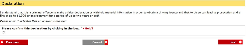 Applying for a provisional driving licence declaration page