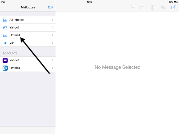 Email inbox on an iPad