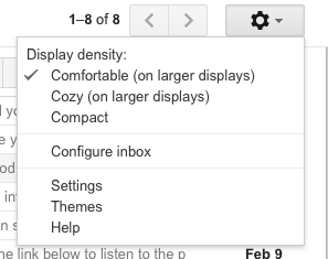 Close up image of the settings menu within Gmail