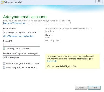 Add email accounts to windows live