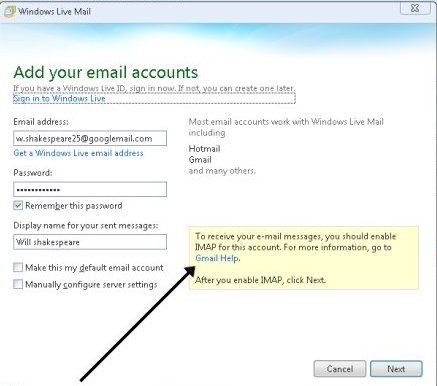 Enable settings in windows live mail