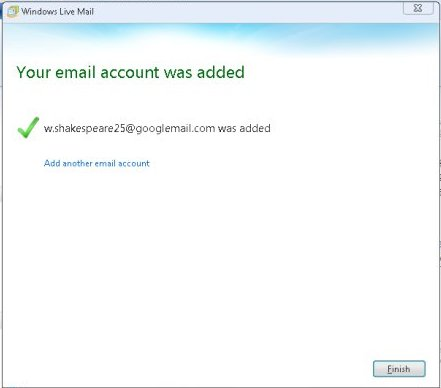 Windows live mail finish