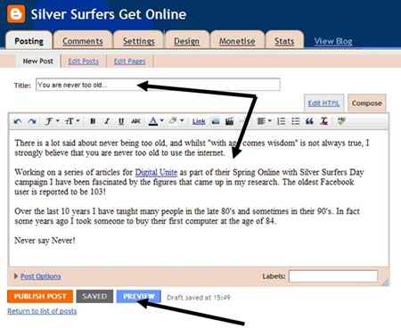 blog start step write your first post