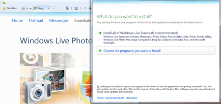 Windows live photo gallery choose the programs you want to install