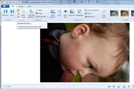 Windows live photo gallery delete button
