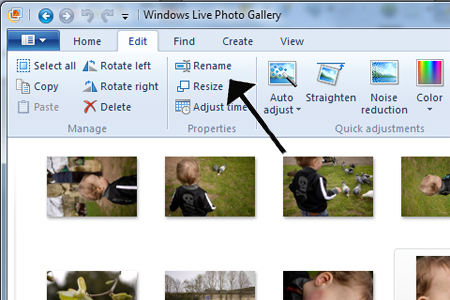 Resize photos button