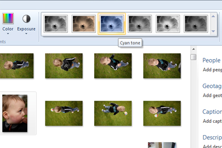 Windows live photo gallery effects section