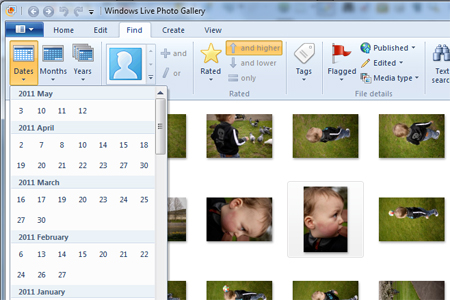Windows live photo gallery photo dates