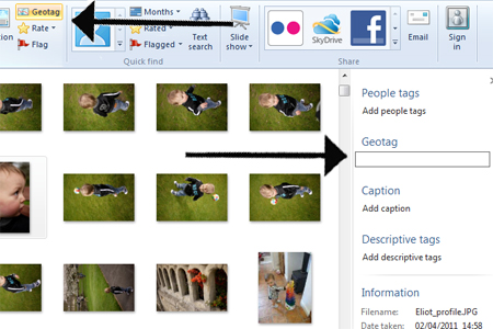 Windows live photo gallery geotag