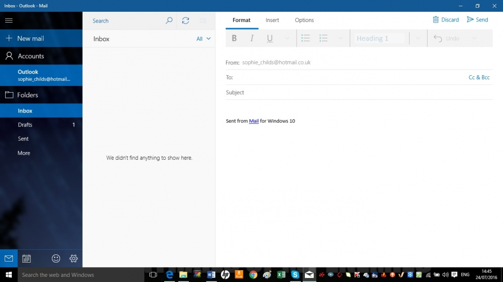 Mail set up in Windows 10 screenshot