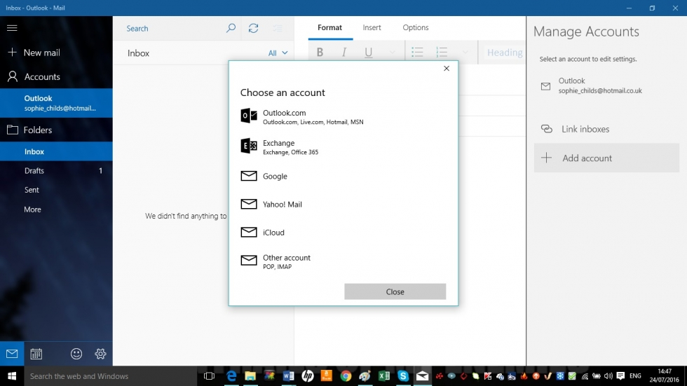 Setting up Mail and Calendar in Windows 10 screenshot