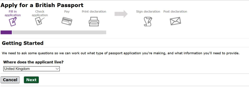 Passport application getting started screen