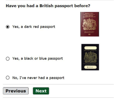 Passport application passport possession question screenshot
