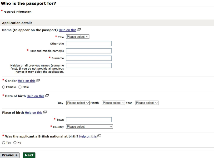Online passport application Who is passport for question screenshot
