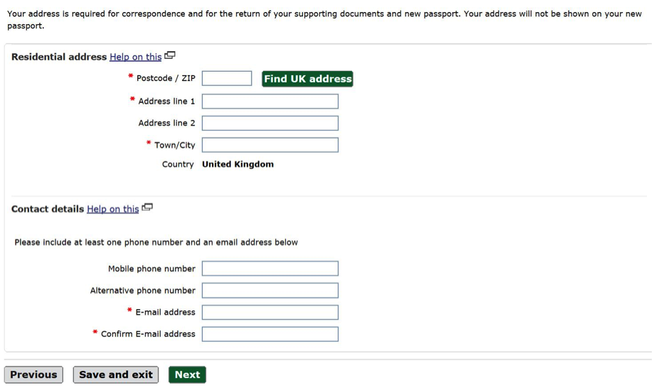 Address details screen online passport application