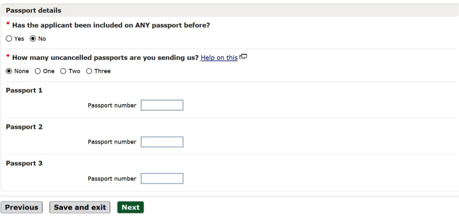 Previous passport questions online passport application screen