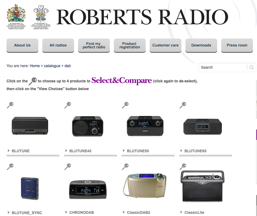 Search results on the Roberts Radio website