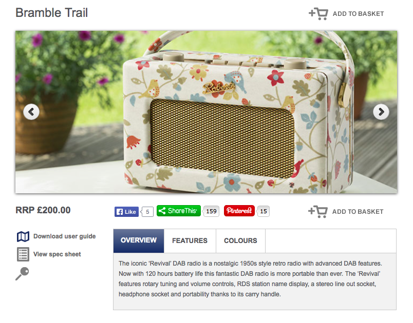 Product details page for the Bramble Trail Roberts Radio