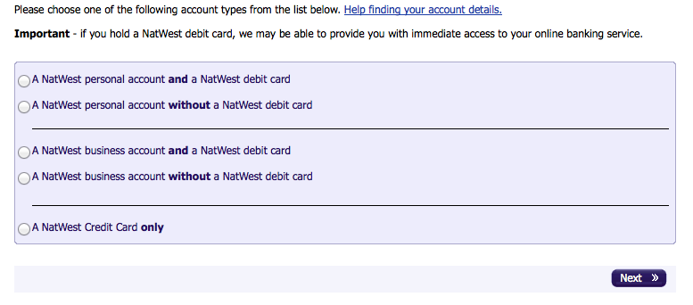 Choosing which NatWest product you have when signing up for internet banking
