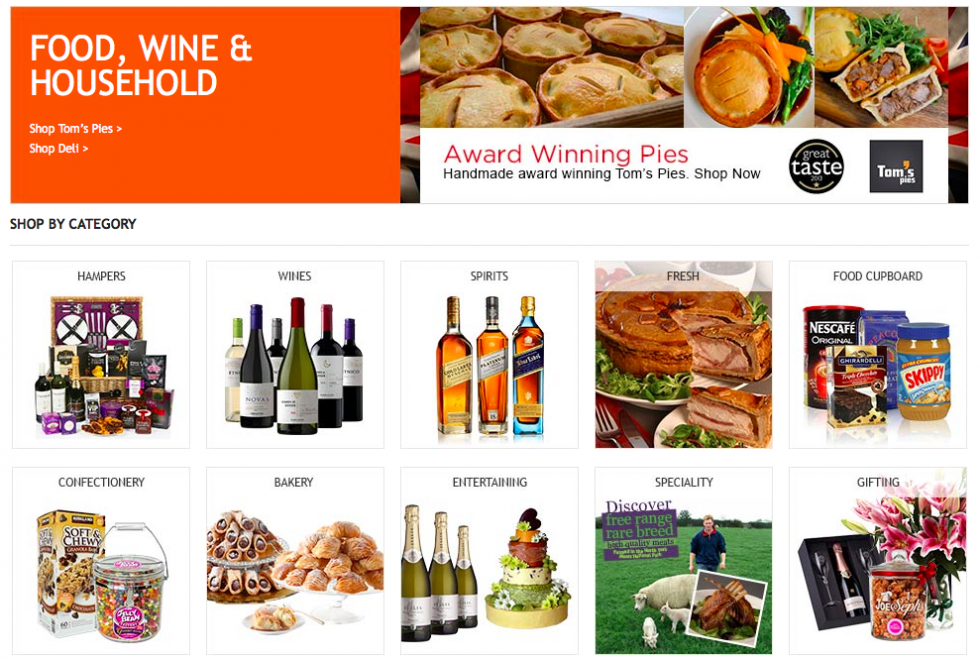 Food, wine and household category on Costco website