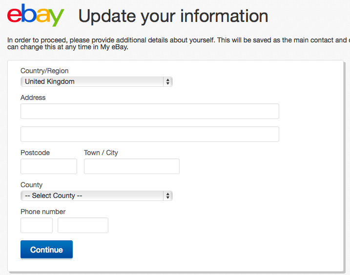 Update your information on eBay