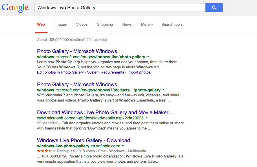 Search results for Windows Live Photo Gallery