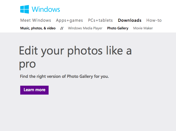 Windows Live Photo Gallery options page