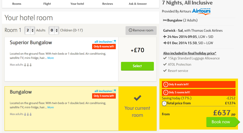 Choosing options on a Thomas Cook holiday booking
