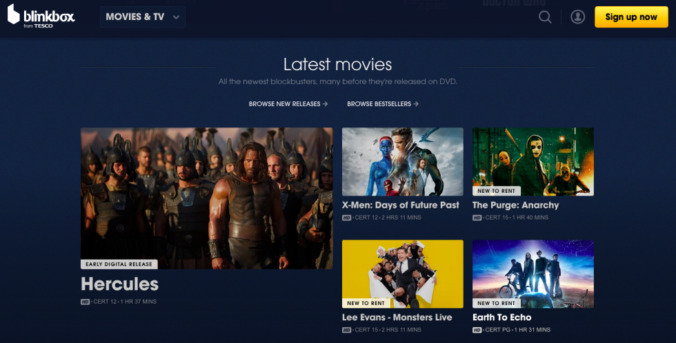 Blinkbox homepage