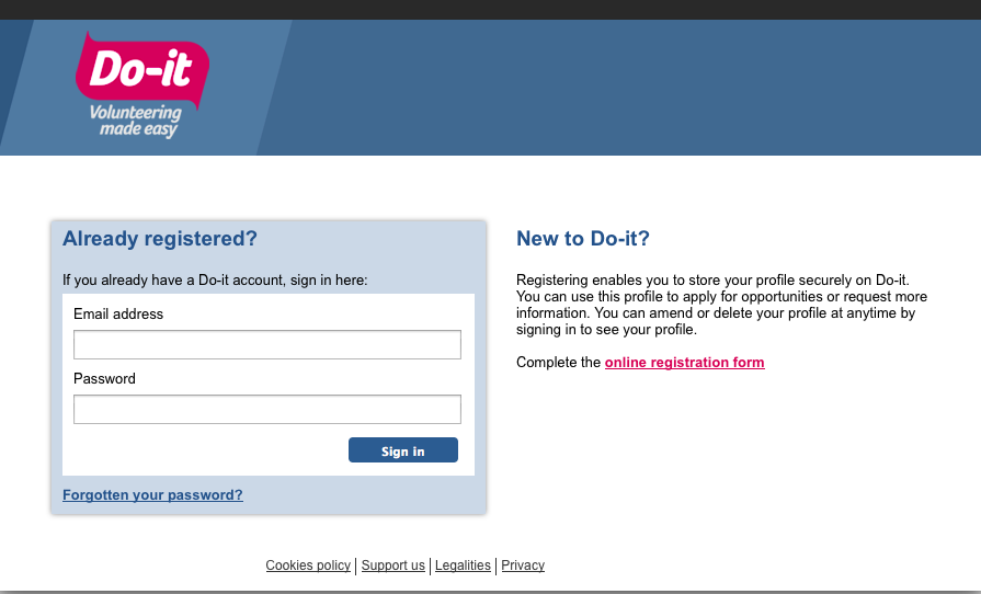 Do-it.org.uk registration page