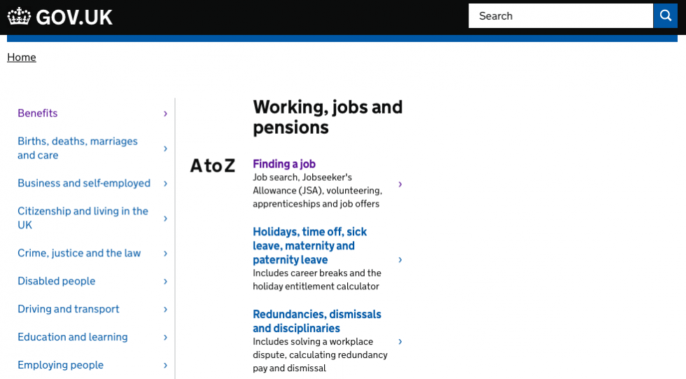 Working, jobs and pensions page on Gov.uk