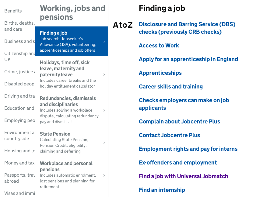 Finding a job page on Gov.uk
