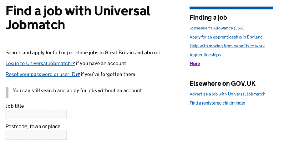 Find a job with Universal Jobmatch page