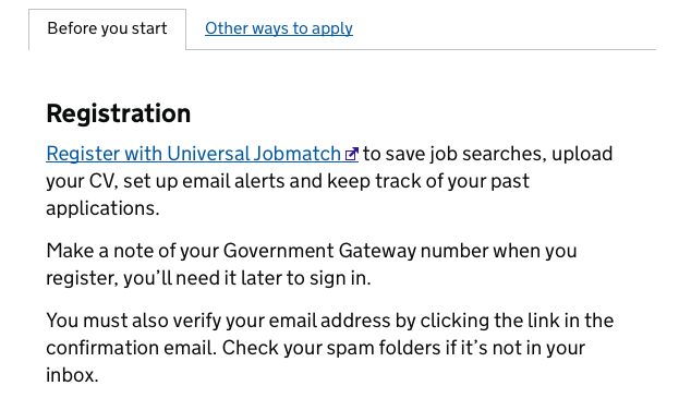 Registration with Universal Jobmatch