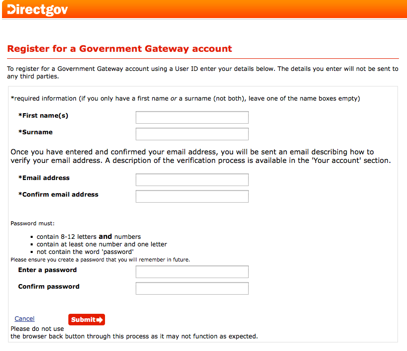 Form to sign up for a Government Gateway account