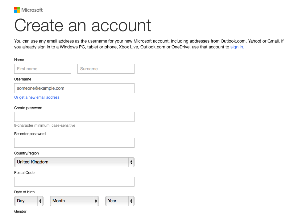 Create a Windows Live account form