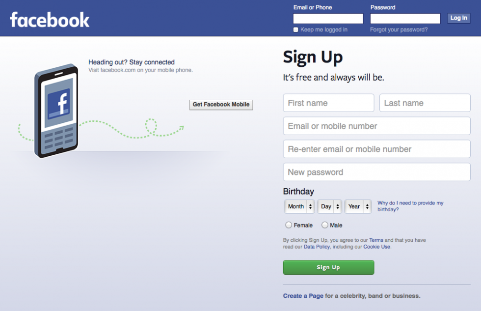 Facebook logged out homepage