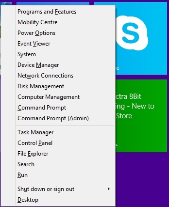 how to shut down win 8