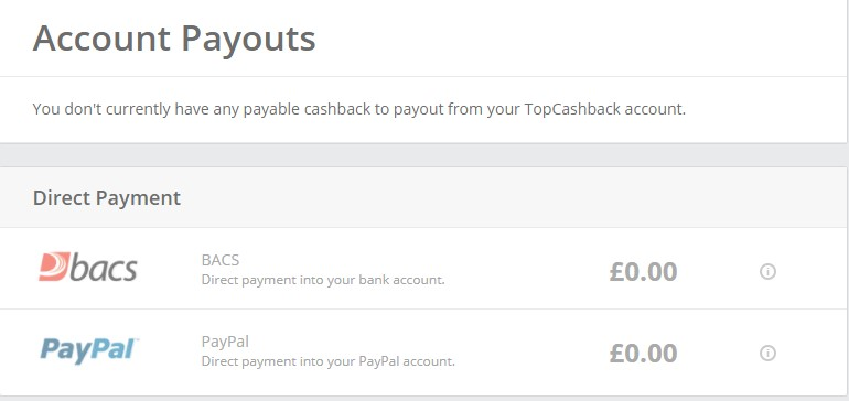 picture of an accounts payout page on topcashback