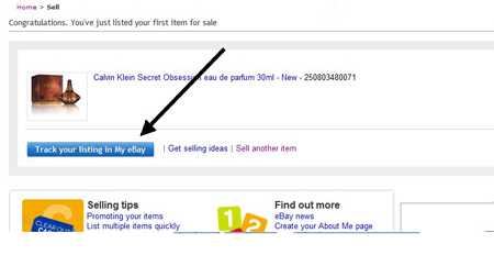 Track your listing in my eBay