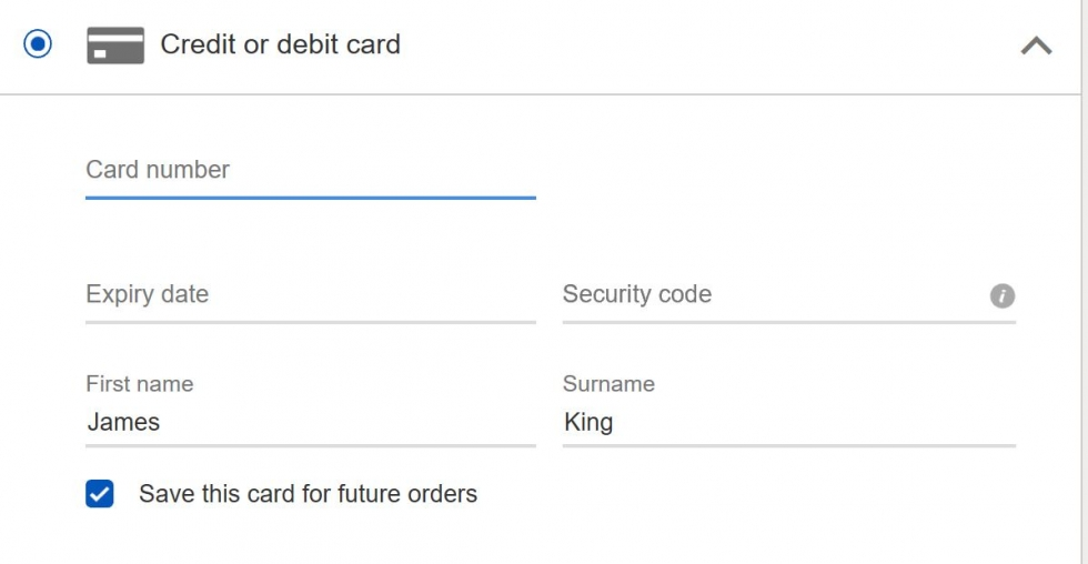 enter your credit card details in the form